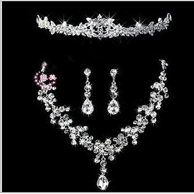Crystal Necklace Earring Crown Wedding Bridal Bridesmaid Prom Jewellery Set Chic