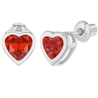 Rhodium Plated Red Crystal Heart Screw Back Earrings for Babies Kids Toddlers