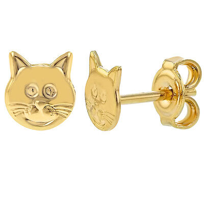 14k Gold Plated Small Cat Toddlers Girl Kids Stud Earrings