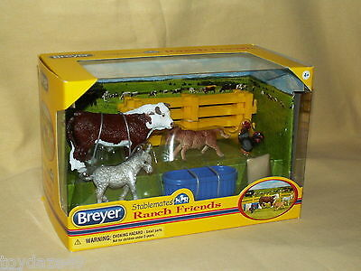 Breyer Stablemates Ranch Friends No 5366 Bull Calf Donkey Rooster New Set 2013
