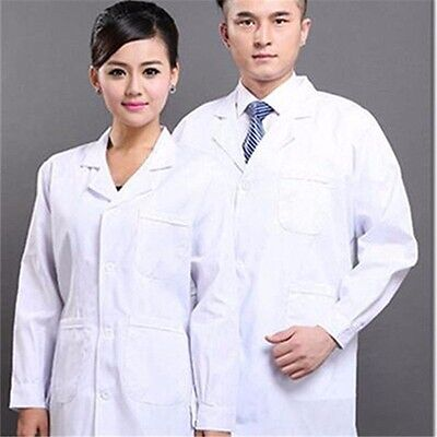 New Mens Womens White Lab Coat Scrub Medical Doctor's Jacket Long Sleeve