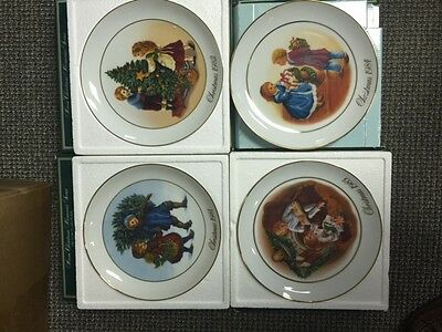 Vintage AVON Complete Set of (4) Christmas Porcelain Decorated Plates 1981-1984