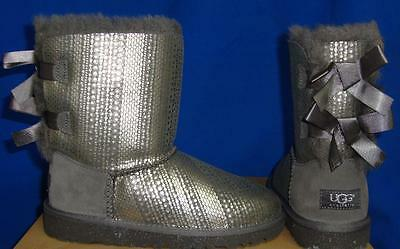 UGG Australia KIDS Grey BAILEY BOW Holiday Boots Size US 3, UK 2.0 NIB # 1004797