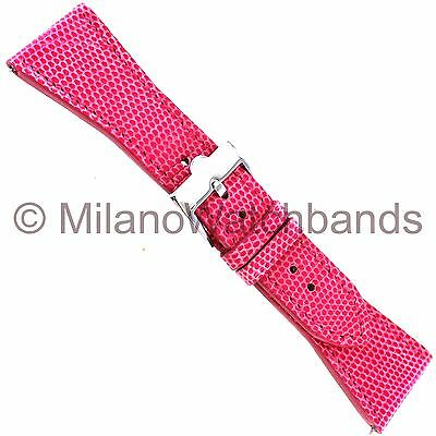 26mm Glam Rock High Quality Hand Made Fuchsia Genuine Lizard Stitched Watch Band
