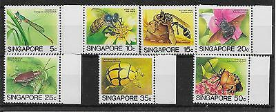 SINGAPORE SG491a/7a 1988-9 INSECTS SET TO 50c LEIGH-MARDON PTG MNH