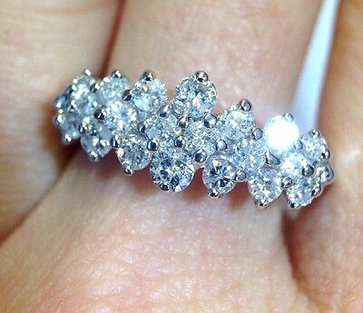 Gorgeous! 1 CT Diamond 14K White Gold Cocktail Cluster Ring Size 8.25