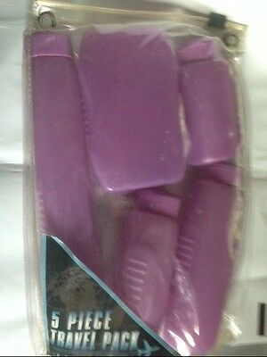 5 pc travel hygeine pack reusable zip pouch PURPLE REUSABLE CONTAINERS N more