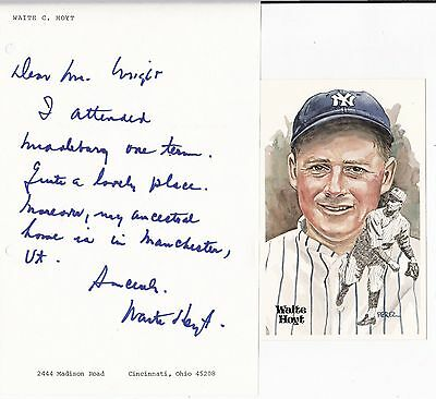 Waite Hoyt 1927 New York Yankees Signed Letter Manchester Vermont W/Perez Steele