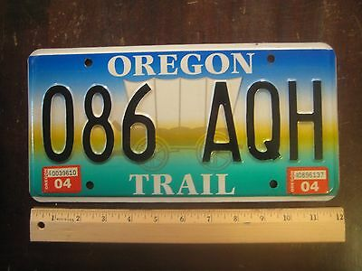 License Plate, Oregon Trail, 086 AQH, Graphics: Covered Wagon