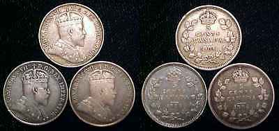 CANADA 1906 Silver 5 Cents 3 Pc. Lot