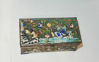Old Silver Gilt Cloisonne Repousse Enamel Chinese Bird Double Side Stamp Jar Box