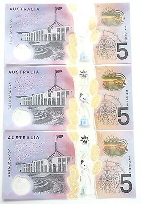 Five Dollars 2016 *FIRST PREFIX AA16* Consecutive Trio of UNC Banknotes