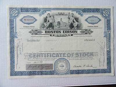 Boston Edison Electric Co Cancelled Stock Certificate 1966