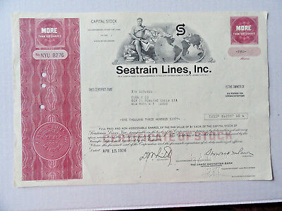 Seatrain Lines Inc Cancelled Stock Certificate1974