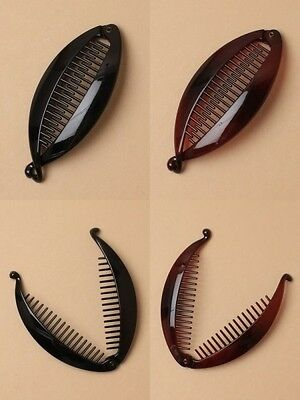 PACK OF 6 BANANA / FISH CLIPS, 12cm, UNISEX HAIR ACCESSORY, BLACK, TORT