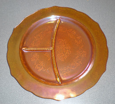 """Federal Glass Normandie Bouquet & Lattice Iridescent 11"""" Grill Plate"""