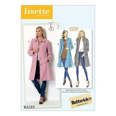 Butterick Sewing Pattern Misses' Fitted Coats Princess Seams 6-22 B6385