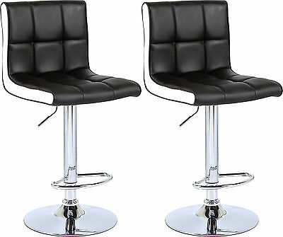 2 Black & White Bar Stool Faux Leather Office Home Kitchen Chair Swivel Stools