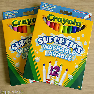 2x NEW - 12 CRAYOLA SUPERTIPS COLOUR MARKERS - Washable Felt Tip Pens  2 x PACKS
