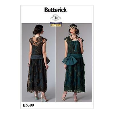 BUTTERICK SEWING PATTERN MISSES' HISTORY 1920s DRESS SIZE 6-22 B6399