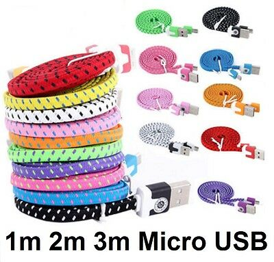 1m 2m 3m Strong Braided Flat Micro USB Data Charger Cable for Samsung Phones