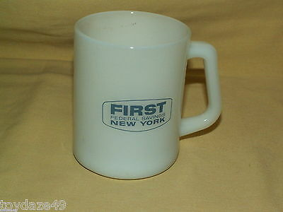 First Federal Mug Savings Bank Loan White Milk Glass Federal Cup New York NY 4