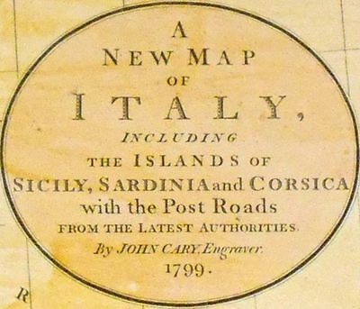 1799 Large Antique Map Chart John Cary Italy Hand-Color Folio