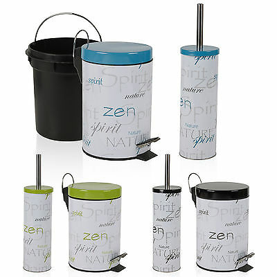 Matching 3L Pedal Bin & Stainless Steel Handle Toilet Brush Holder Bathroom Set