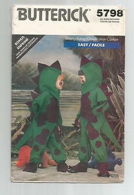 Butterick 5798 DINOSAUR Costume boy/girl child all sizes 2 to 6X  ©1987 SCARCE