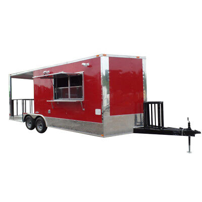Concession Trailer 8.5 X 20 Red Food Event Catering