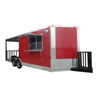 Concession Trailer 8.5' X 20' Red Food Event Catering