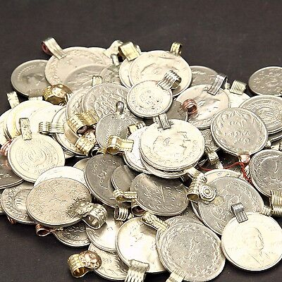 100 real COINS Tribal Belly Dance Kuchi ROUND ((polished))