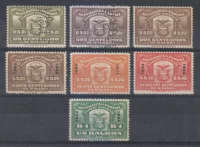 "Panama Revenues 1930-44 Timbre Nacional Group Of 7 Perf Proofs ""specimen""+ Mnh"