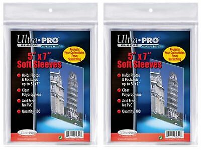 200 Ultra Pro Card Photo postcard Picture Soft 5x7  5 x 7 Sleeves new