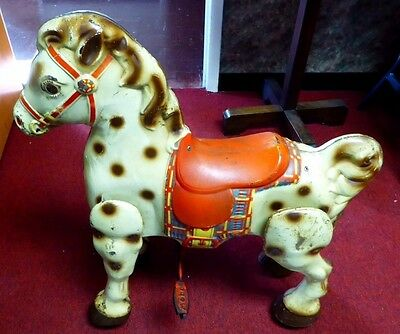 """Vintage MOBO Bronco Hobby Horse.Made in England. Steers & Works Well. 1951. 30""""T"""