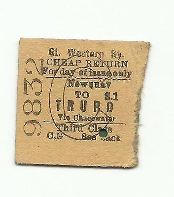 GWR ticket, Newquay to Truro