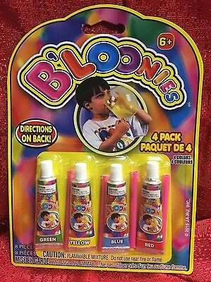 B'loonies Bubble Blowing Plastic Balloons 4 Tubes Colors Red Blue Green Yellow