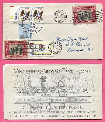 Unusual # 651 -17 Geo Rogers Clark Multi Cancel Vincennes In 150Th & 200Th Aniv