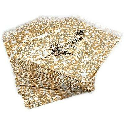 "100 Gold Color Paper Gift Shopping Sales Bags 4"" x 6"""
