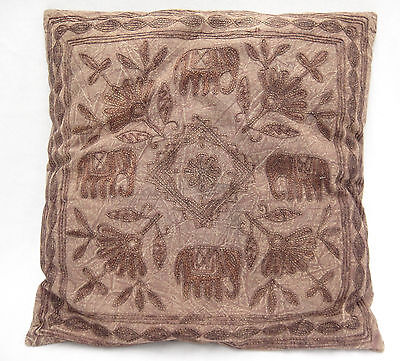 Brown Elephant Embroidered Throw Pillow Tone on Tone British Colonial 15x15
