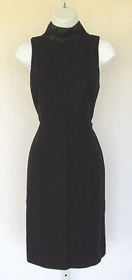 56f7ef38f31 VINTAGE 1960s SAKS FIFTH AVE TUXEDO DRESS BLACK POLY ACETATE SIZE 8 FULLY  LINED