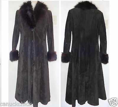 Vintage Black Leather Suede & Real Fur Long Winter Coat WOMENS M CANADA 8 10
