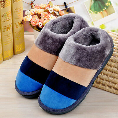Xmas Men Stripe Indoor Soft Non-slip Slipper House Home Cotton Winter Warm Shoes