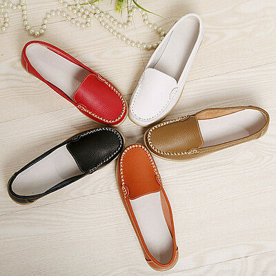 Fashion Women Casual Leather Slip on Loafers Moccasin Flats Boat Oxfords Shoes