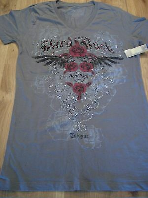HRC Hard Rock Cafe Cologne Gray Rose Tee Shirt Woman Girl Size S New