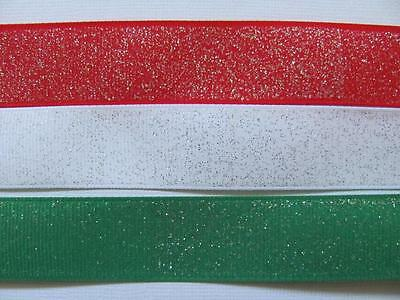 "BB Ribbon GLITTER GROSGRAIN 1m grosgrain 7/8"" 22mm christmas choose colour"