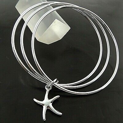 A689 Genuine Real 925 Sterling Silver S/f Ladies Star Fish Cuff Bangle Bracelet
