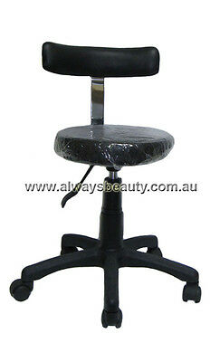 SALON STOOL GAS LIFT WITH BACK Black Chair Strong Base Wheels Beauty Chair