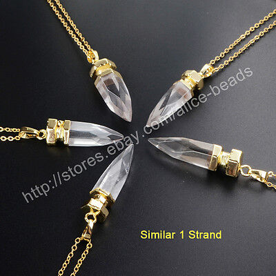 1Pcs Natural White Quartz Faceted Spike Point Gold Plated Necklace HOT HWX015-N