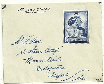 * 1948 Lewes Sussex Silver Wedding £1 Stamp On First Day Cover - Fdc To Seaford